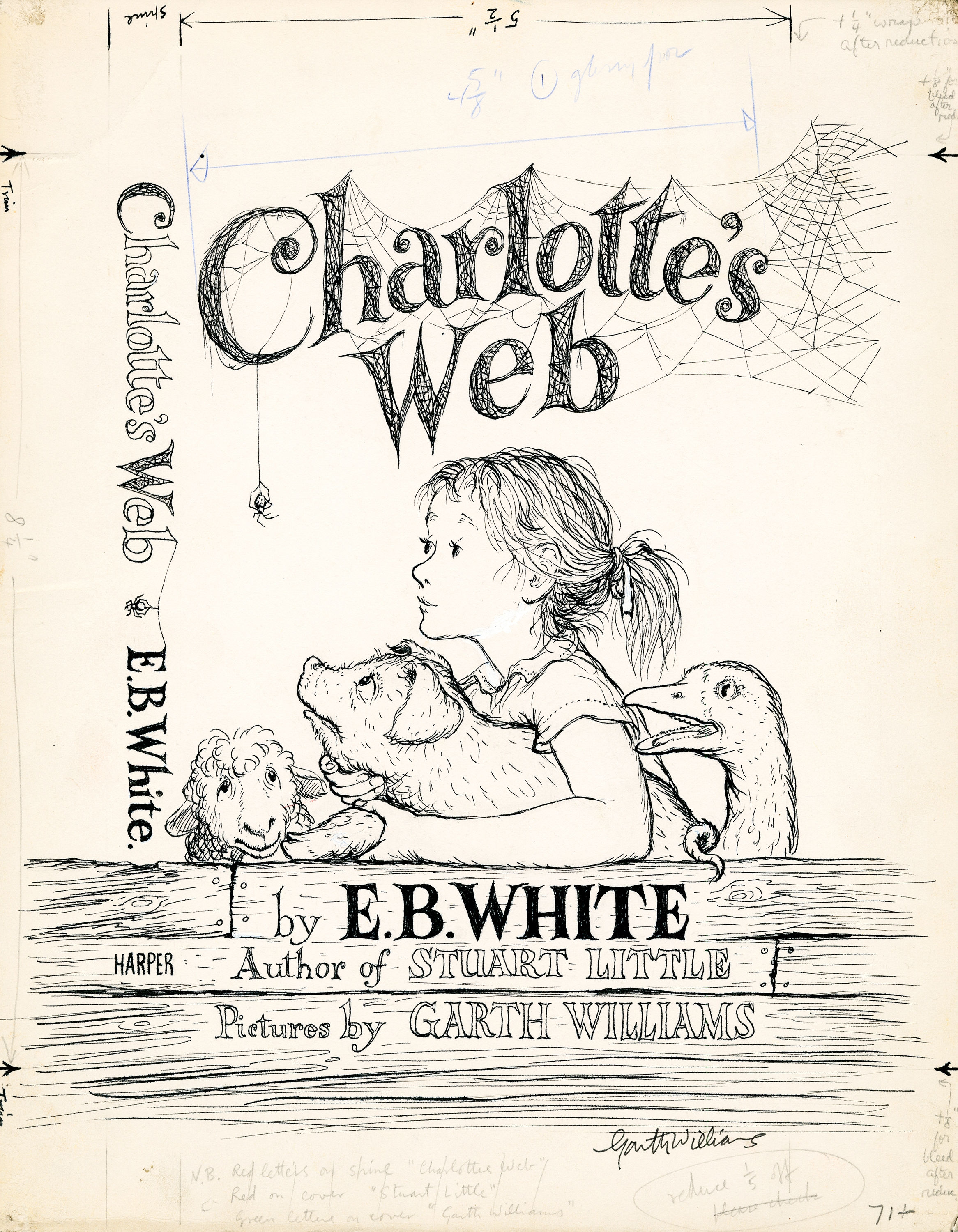 Comic Aun Book Cover Illustration Ver : Charlotte s web book cover art sells for